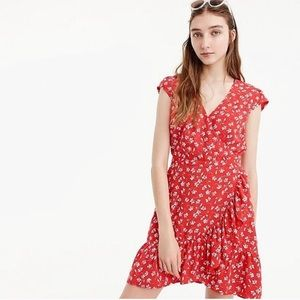 J. Crew Mercantile Red Floral Faux Wrap Dress